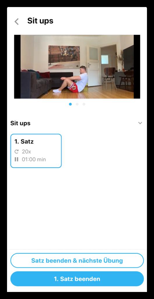Youtube-Video für einzelne Übungen
