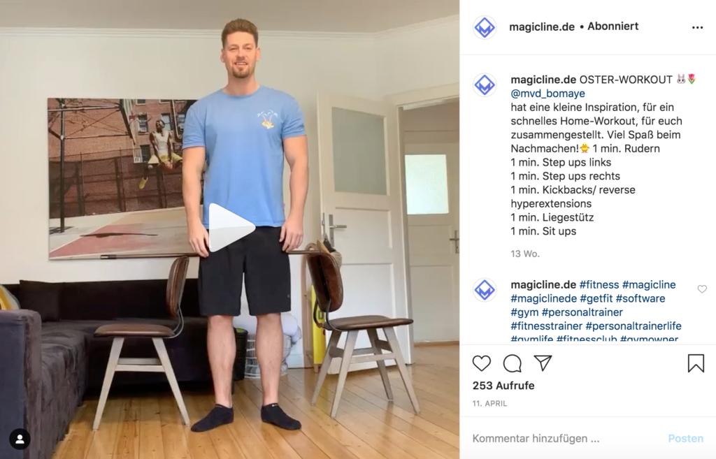 Beispielbild: Instagram Post für ein Home Workout
