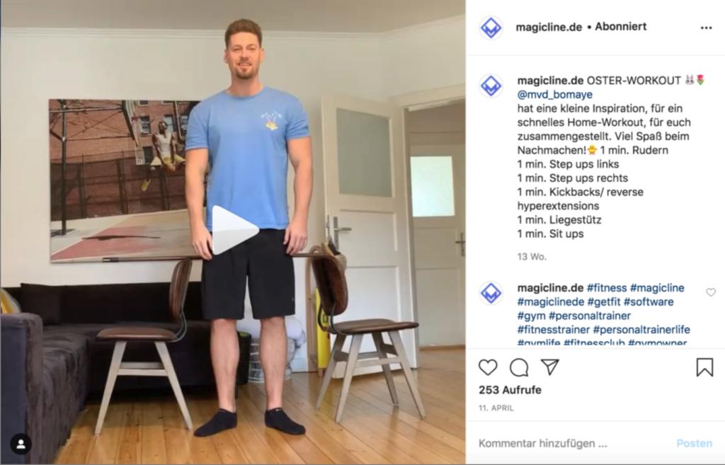 Imagen de ejemplo: Instagram Post para un entrenamiento en casa