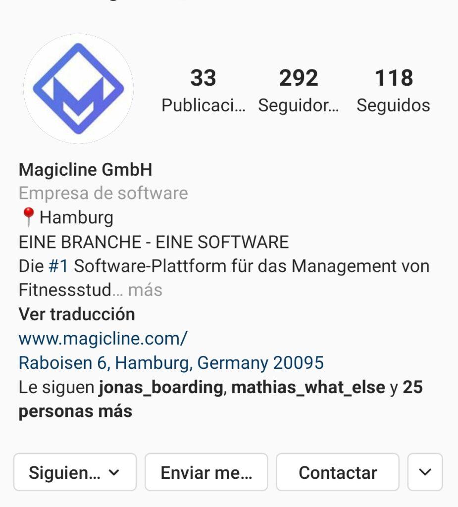 Foto de ejemplo: Biografía e información en Instagram de contacto de Magicline