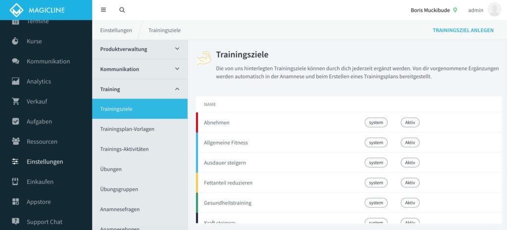 Beispielbild: Auswahl der Trainingsziele