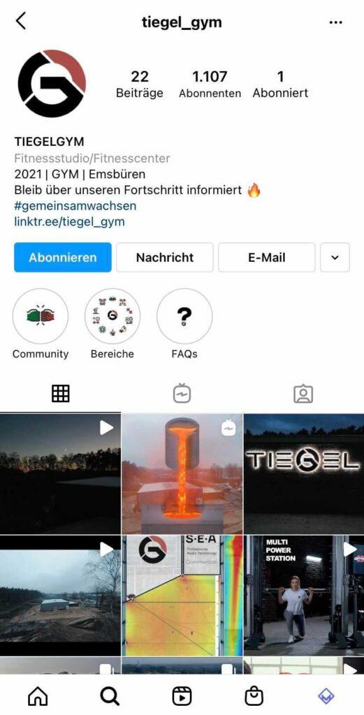 Bild: Instagram Account vom Tiegel Gym