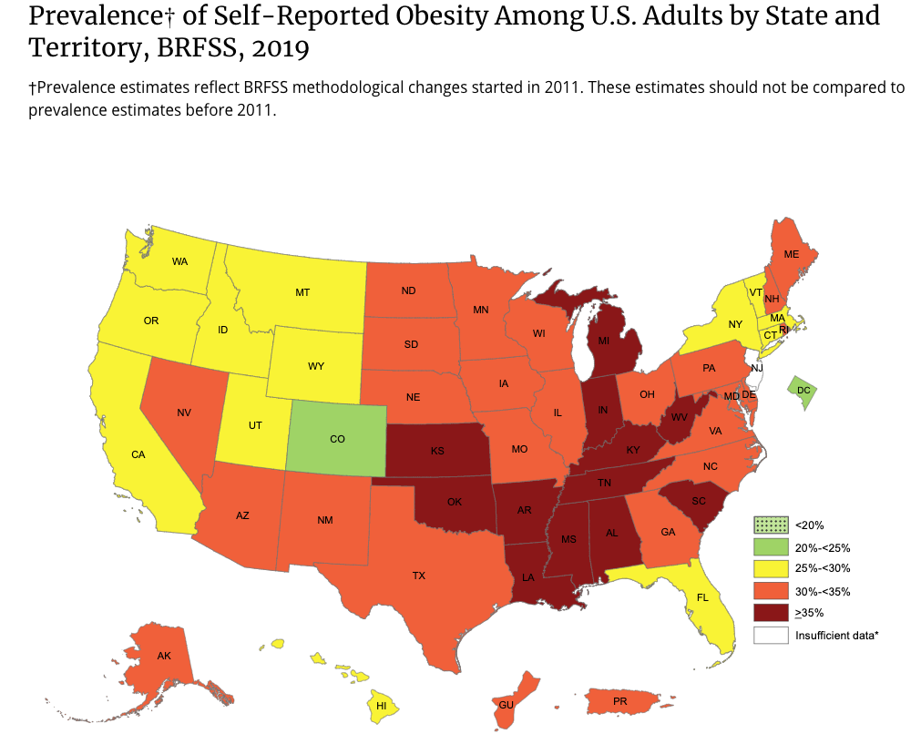 Map: Overall Obesity USA