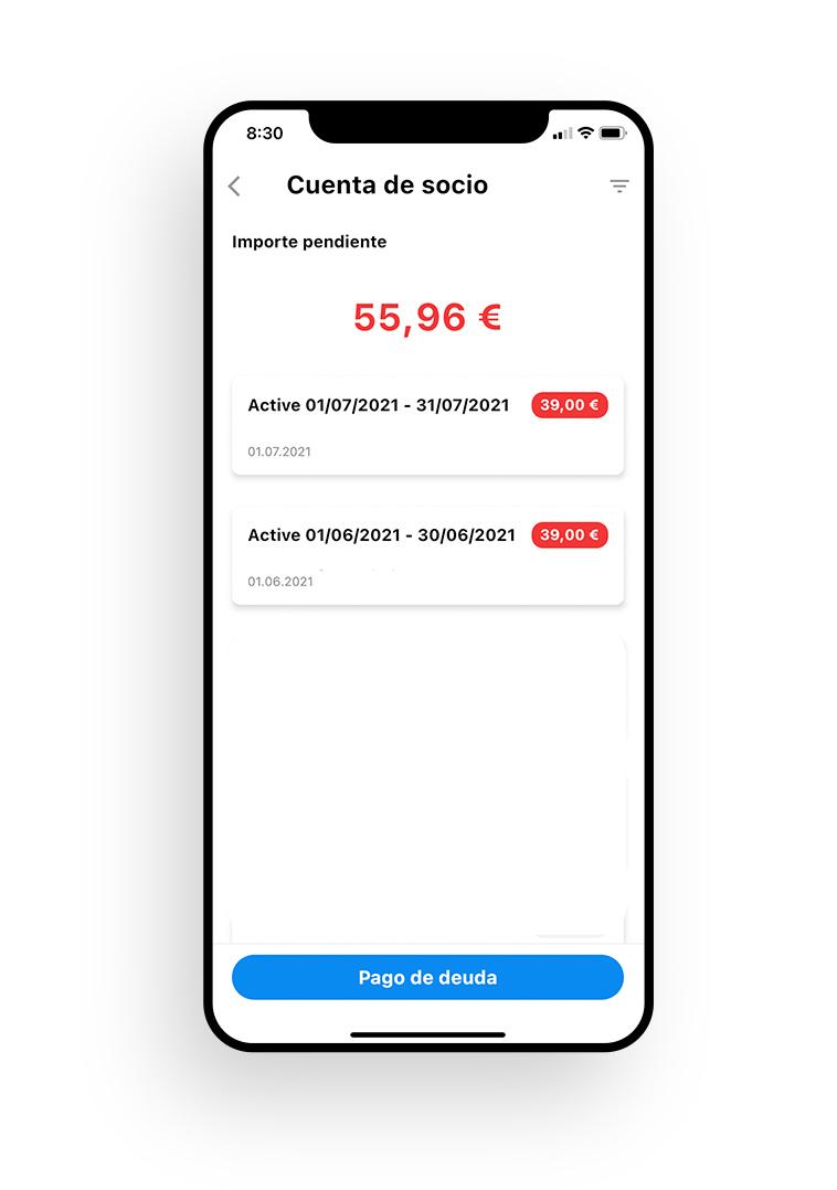 Pago de deuda desde la aplicación móvil MySports